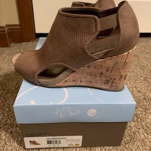 Brown Open Toe Ankle Wedge